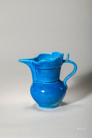Chinese Blue Glazed Porcelain Pitcher, Marked
