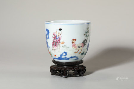 Chinese Famille Rose Porcelain Cup, Marked