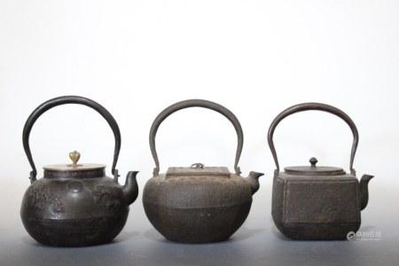 Three Asian Iron Teapot
