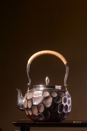 Japanese Silver Teapot, Hand Chased