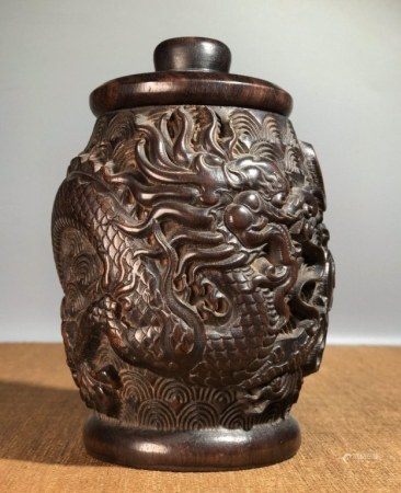 Chinese Wood Carved Tea Candy , Dragon Pattern