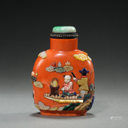 QING DYNASTY, CHINESE CORAL EMERALD SNUFF BOTTLE