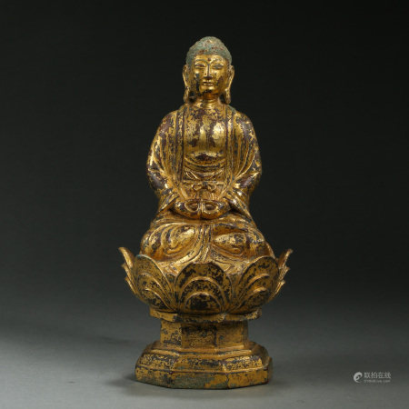 CHINESE LIAO DYNASTY SEATED GILT BRONZE BUDDHA