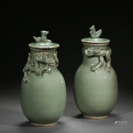 A PAIR OF LONGQUAN KILN CHINESE BOTTLES WITH DRAGON PATTERN