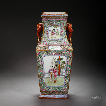 CHINESE QING DYNASTY FAMILLE ROSE BOTTLE