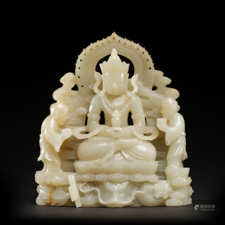 CHINESE QING DYNASTY HETIAN JADE CARVED SEATED  BUDDHA
