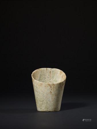 新石器時代 紅山文化青白玉馬蹄形器