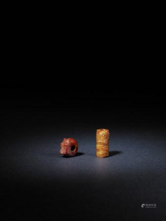 新石器時代 良渚神人面玉勒與龍胎