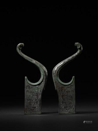 戰國 - 漢 青銅錯金承弓器一對