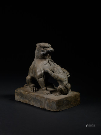唐 石雕太獅少獅