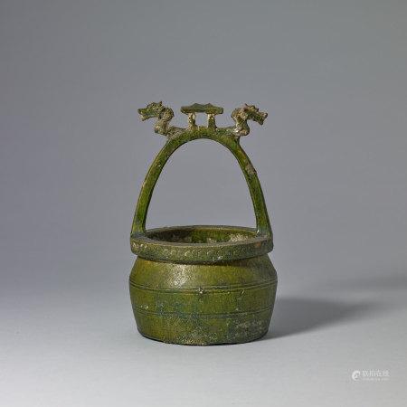 漢 綠釉雙龍首水井