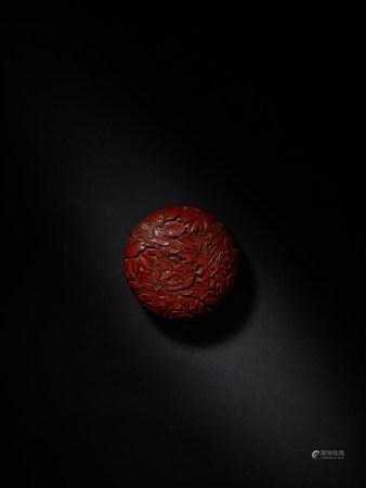 明早期 剔紅牡丹紋香盒