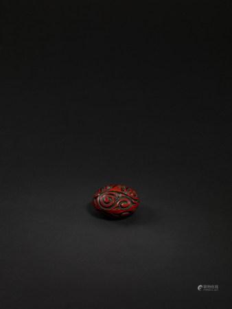 清 剔紅香盒