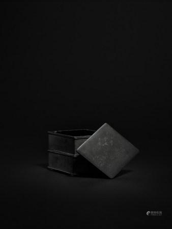 清 錫製雙層菱形香盒