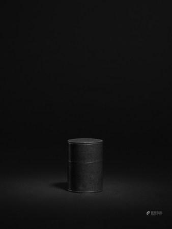 清 錫製直筒形茶葉罐