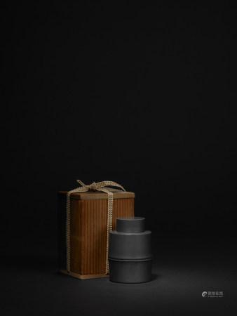 清 英祥堂造 錫製竹節形茶葉罐