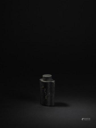 清 提忠清老款 錫製海棠形茶葉罐
