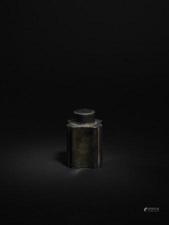 清 周德茂造 錫製葵形茶葉罐
