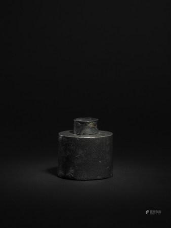 清 西楳款 錫製童子芭蕉圖茶葉罐