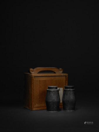 清 西溪製 錫製詩文茶葉罐一對