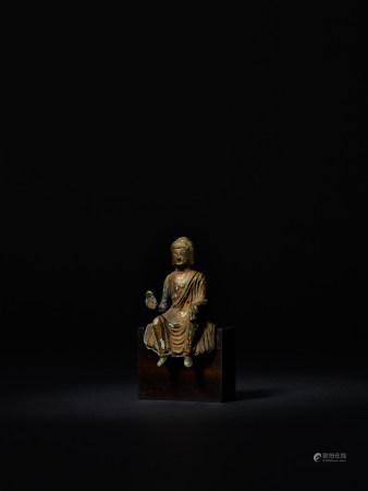 唐 銅鎏金釋迦牟尼小佛坐像