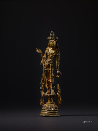 唐 銅鎏金菩薩立像