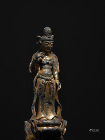 唐 銅鎏金文殊菩薩像