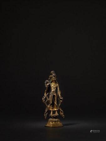 唐 銅鎏金楊柳觀音立像