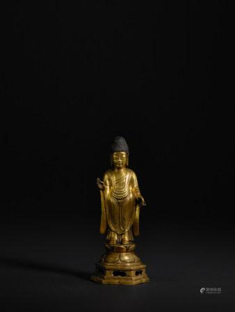 統一新羅 銅鎏金釋迦牟尼像