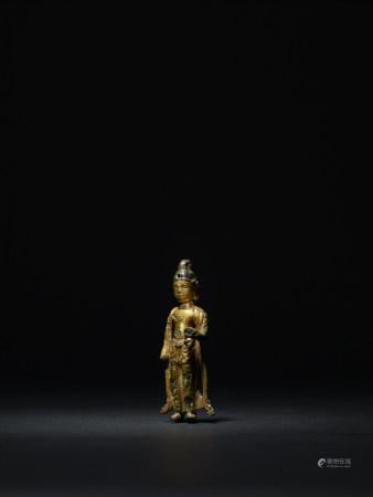 統一新羅  銅鎏金觀音菩薩立像