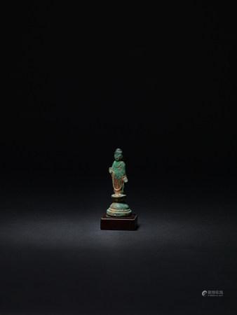 三國時期.新羅  銅鎏金寶生佛立像