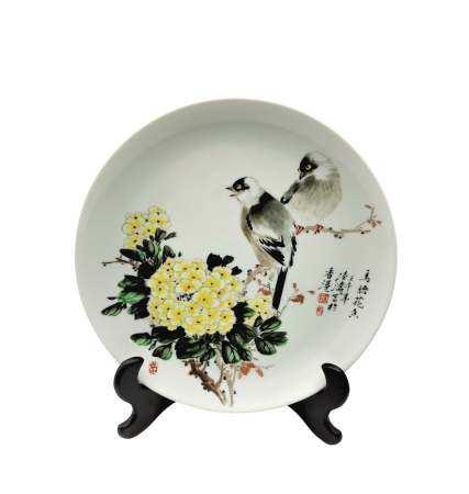 陸濤(國大師) 釉上彩鳥語花香盤