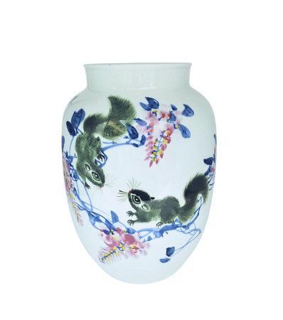 朱正榮(國大師)  釉下彩紫舞鼠樂瓶