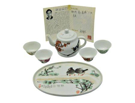 傅國勝(省大師) 釉上彩花鳥茶具一套