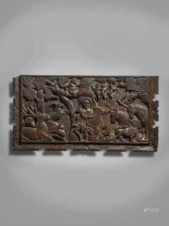 AN OAK RELIEF CARVED MYTHOLOGICAL PANEL LATE 16TH CENTURY after a woodcut engraving of Ovid's