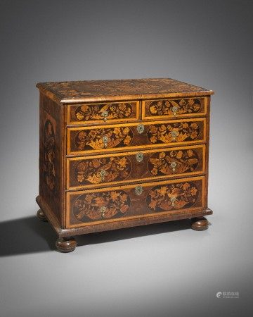 A WILLIAM AND MARY OYSTER VENEERED AND MARQUETRY CHEST C.1690 inlaid with tulips, birds, flowers and