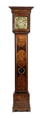 A MARQUETRY LONGCASE CLOCK; SIGNED AMBROSE HAWKINS OF WELLS, LATE 17TH CENTURY AND LATER the brass