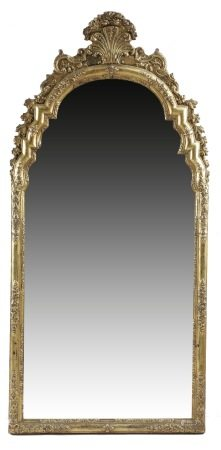 A GILTWOOD AND GESSO WALL MIRROR IN QUEEN ANNE STYLE EARLY 18TH CENTURY AND LATER the two arched