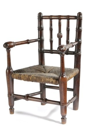 A MAHOGANY MINIATURE FAUX BAMBOO OPEN ARMCHAIR EARLY 19TH CENTURY possibly an apprentice piece, with
