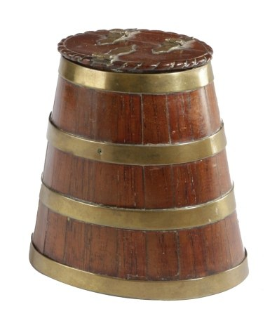 A MINIATURE COOPERED SALTING BARREL C.1840-50 of tapering form and staved construction with brass
