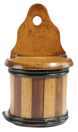 A DUTCH FRUITWOOD MINIATURE HANGING SALT / CANDLE BOX LATE 19TH / EARLY 20TH CENTURY of staved