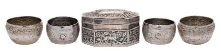 Two pairs of Burmese silver salts: of circular outline with foliate banded decoration, 5.