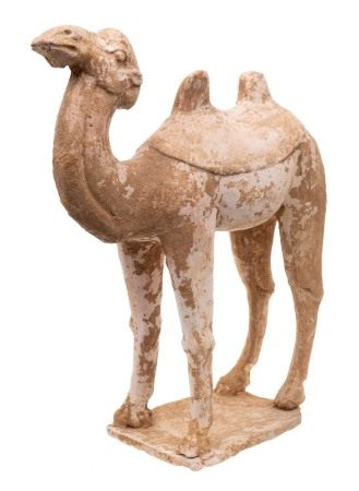 A large Chinese pottery figure of a Bactrian or Mongolian camel: modelled standing four square with