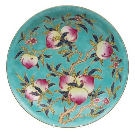 A Chinese famille rose peach dish: enamelled with branches of peaches,