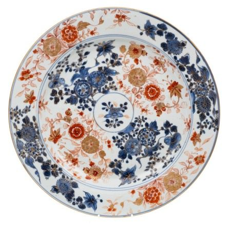 Two Chinese Imari chargers: both decorated in underglaze blue,