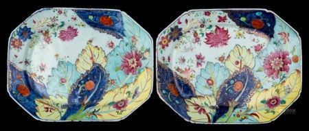 A pair of Chinese famille rose 'Tobacco Leaf' dishes: of octagonal form,