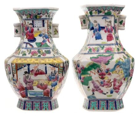 A pair of Chinese porcelain vases: of archaic form probably for the Straits market decorated with