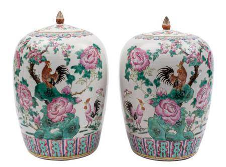 A pair of Chinese famille rose vases and covers for the Straits market: of oviform with lotus bud