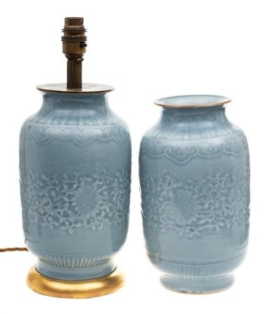 A pair of Chinese clair-de-lune glazed vases: moulded with a wide band of scrolling lotus within