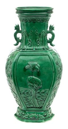 A Chinese green monochrome porcelain vase: of flattened baluster form,